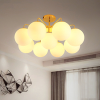 American country LED chandelier ceiling Glass ball lamp Nordic hanging lights bedroom fixtures living room suspension luminaires