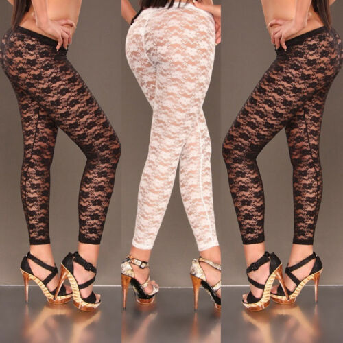 Women Sexy Floral Stylish Skinny Lace Hollow Leggings Pants Footless
