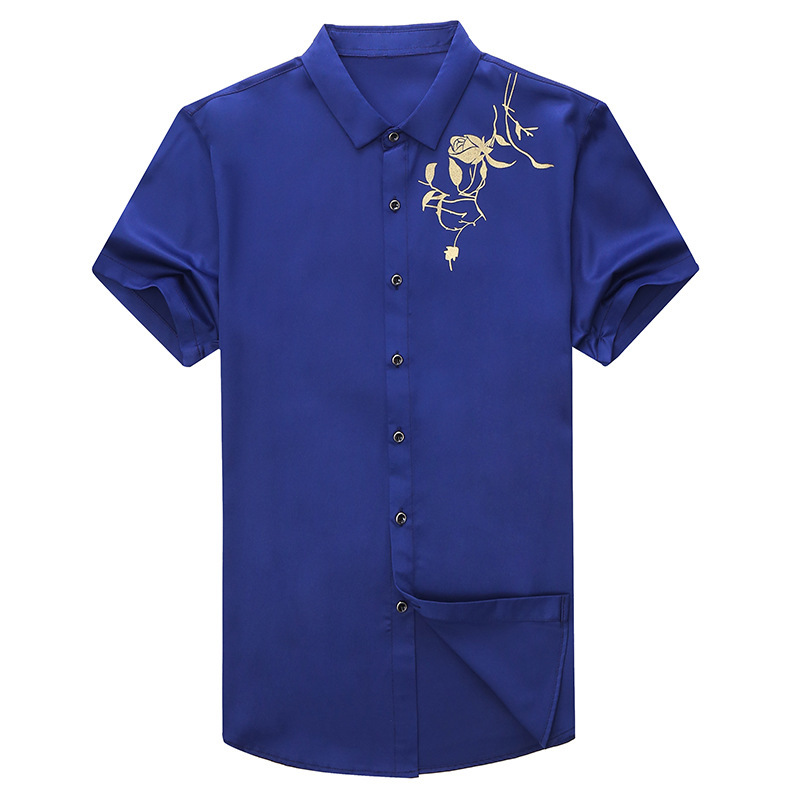 Fashion Men Luxury Tuxedo Shirt Summer Short Sleeve Mens Shirts Casual Slim Fit Chemise Homme Brand Floral Printed Camisa Hombre wavefun xpods 3