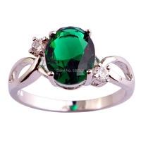 New Fashion Women Anniversary Pretty Jewelry Green Emerald Quartz 925 Silver Ring Size 6 7 8 9 10 Free Shipping 2015 Design