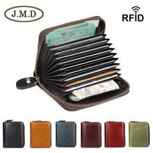 JMD Vintage Tanned Leather Zipper Around Wallet Coffee RFID Blocking Card Holder R-8117Q