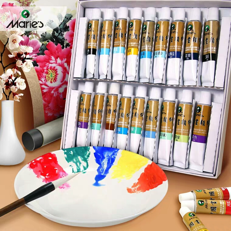 Marie's 12/18/24/36 Colors Chinese Painting Pigments 12ml Meticulous Painting Colors 5ml Freehand Drawing Painting Art Suplies