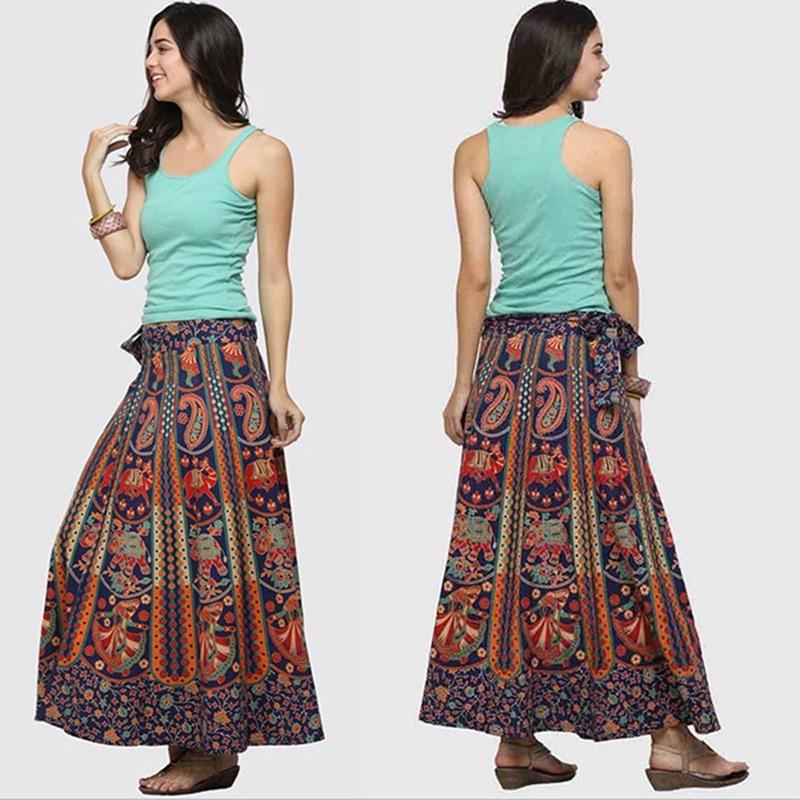 Nevera Women Bohemian Floral Printed Elastic Waist A Line Long Maxi Skirt