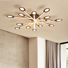 Brown modern Led Chandelier lighting for bedroom living room iron acrylic lustre luminaria lampadario Ceiling
