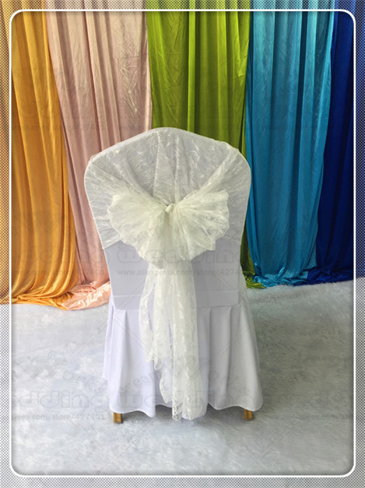 Lace Chair Hoods Caps Sashes Bow Table Runner Tablecloth Napkins Fabric Skirt Overlay Linen Party Wedding Decorations