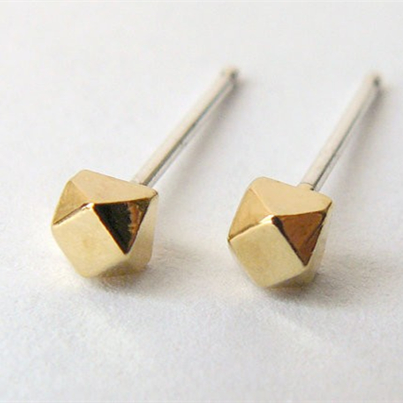 Small Cube Stud Earing Geometric Polyhedron Tiny Ear For Women S Earrings Fashion Jewelry Nickel Free In From Accessories On