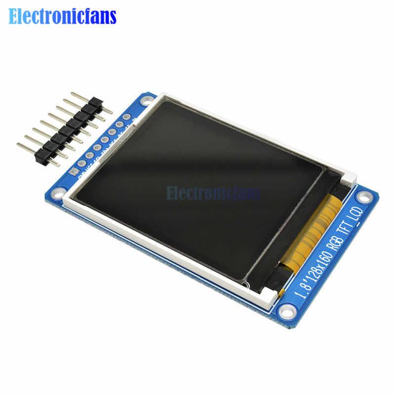 """1.8 """"1.8 인치 128x160 spi 풀 컬러 tft lcd 디스플레이 128*160 모듈 st7735s 3.3 v arduino diy kit 용 oled 전원 공급 장치 교체"""