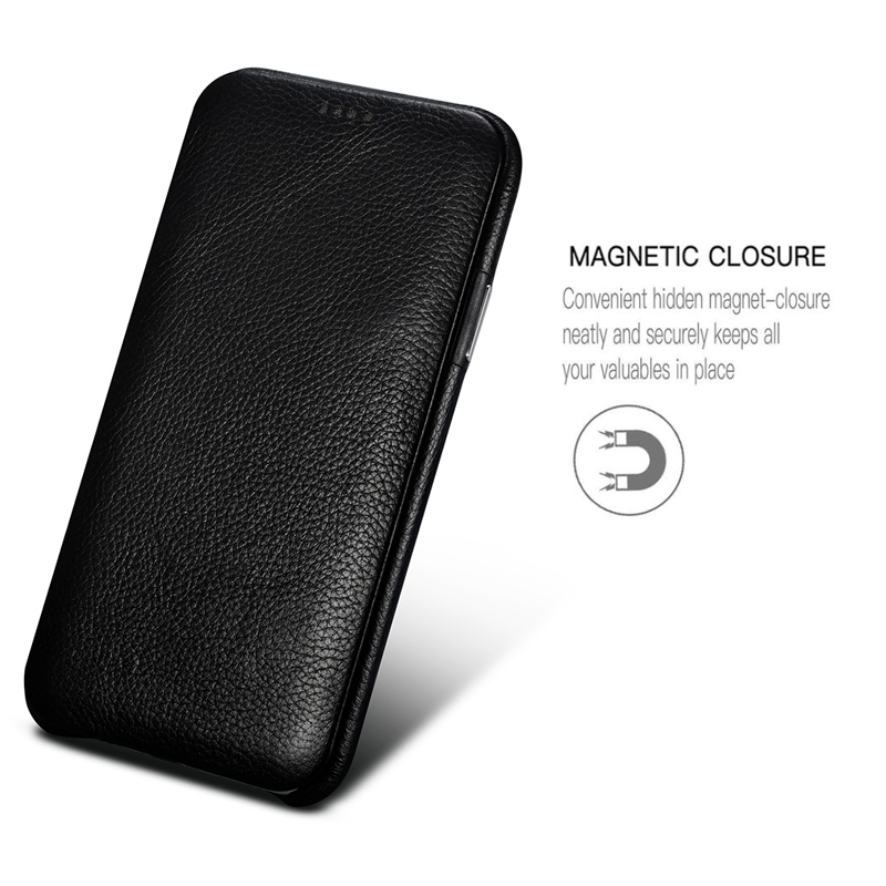 XOOMZ For IPhone XS MAX Case Genuine Leather Case For IPhone 7 8 Plus X Protective Case Cover Magnetic Flip Cell Phone Case