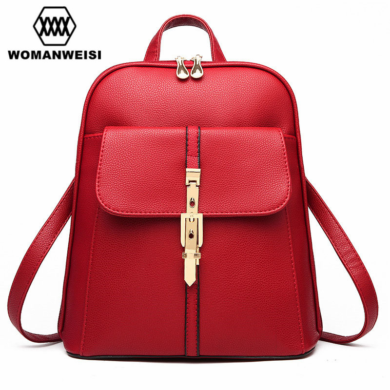Designer Backpacks High Quality PU Leather With Metal Buckles 9 Colors Girls Student School Bags Fashion Women Beach Bags Bolsos