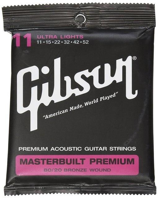 GibsonGuitars SAG-BRS11 Masterbuilt Premium 80/20 Bronze Ultra Light Acoustic Guitar Strings 11-52