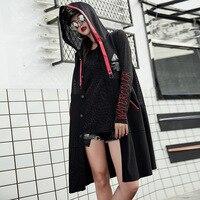 new Harajuku Long vest women Denim Sleeveless Coat Hooded Mesh Patchwork Jacket chalecos para mujer casaco feminino gilet femme