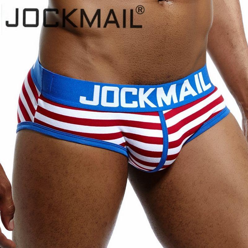 JOCKMAIL Brand Men Underwear Briefs Striped Sexy U Convex Calzoncillos Hombre Slips Cueca Gay Underwear Mens Bikini Panties