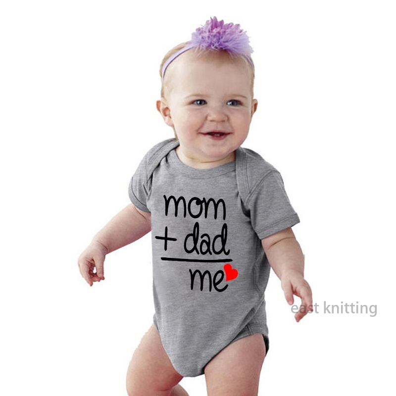 DERMSPE Summer Newborn Infant Baby Clothes Mom Plus Dad Equal Me Funny Cute Toddler Jumpsuits Bodysuits Outfits in Bodysuits from Mother Kids