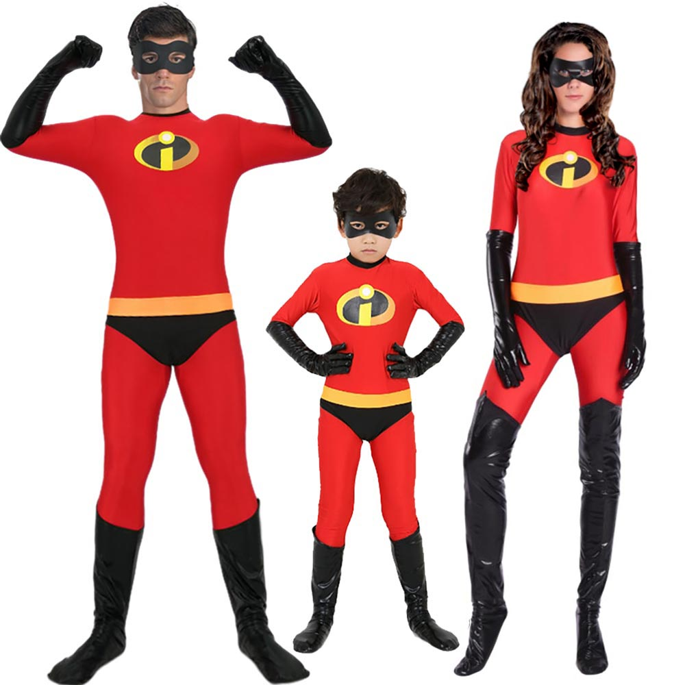 Incredibles 2 Costume Classic Mr and Mrs Incredible Cosplay Outfit Adult Kids Dash Violet Costume Superhero Family Fancy Dress