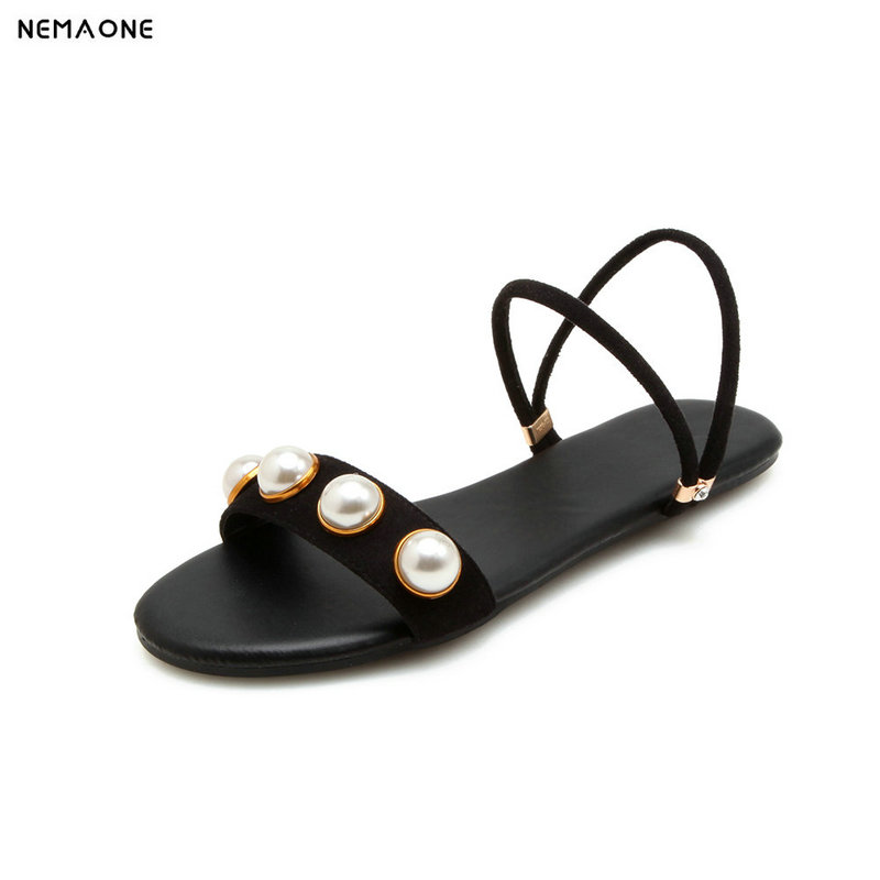 NEMAONE New flat women slippers suede leather sandals woman summer style pearl beath women shoes black apricot pink green meifeier 407 women s fashionable knitted chiffon blouse apricot l