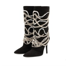 mid-calf boots women stiletto heels chivalry boots women chain decoration boot real leather lady fashion boot size 34-48 цена 2017