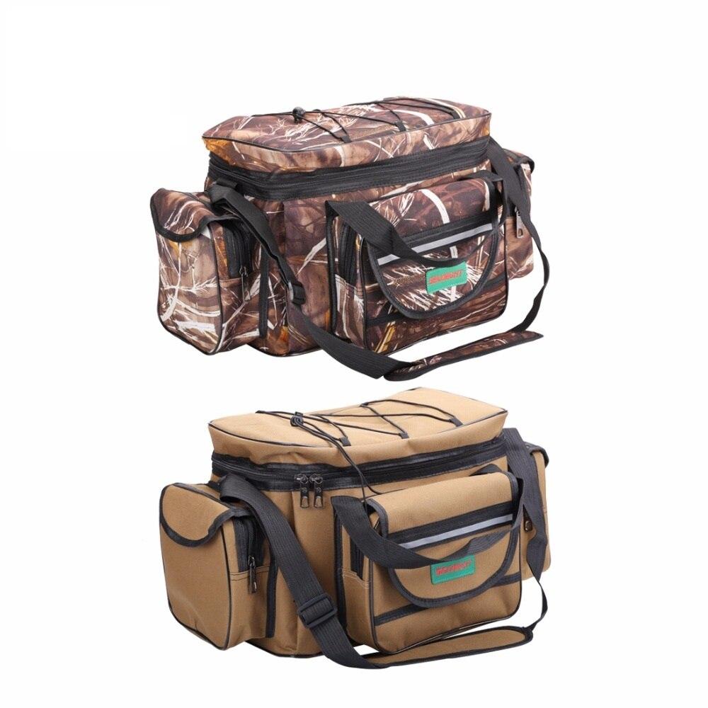 Spor ve Eğlence'ten Balıkçılık Çantaları'de SeaKnight SK003 büyük balıkçı çantası çok fonksiyonlu açık spor balıkçı çantası sırt çantası 50cm * 27cm kamuflaj haki büyük olta takımı title=