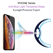 9H Anti-blue light Tempered Glass For iphone X XR XS MAX Screen Protector For iphone 5 5C 5S SE 6 6S 7 8 PLUS Protective film стоимость