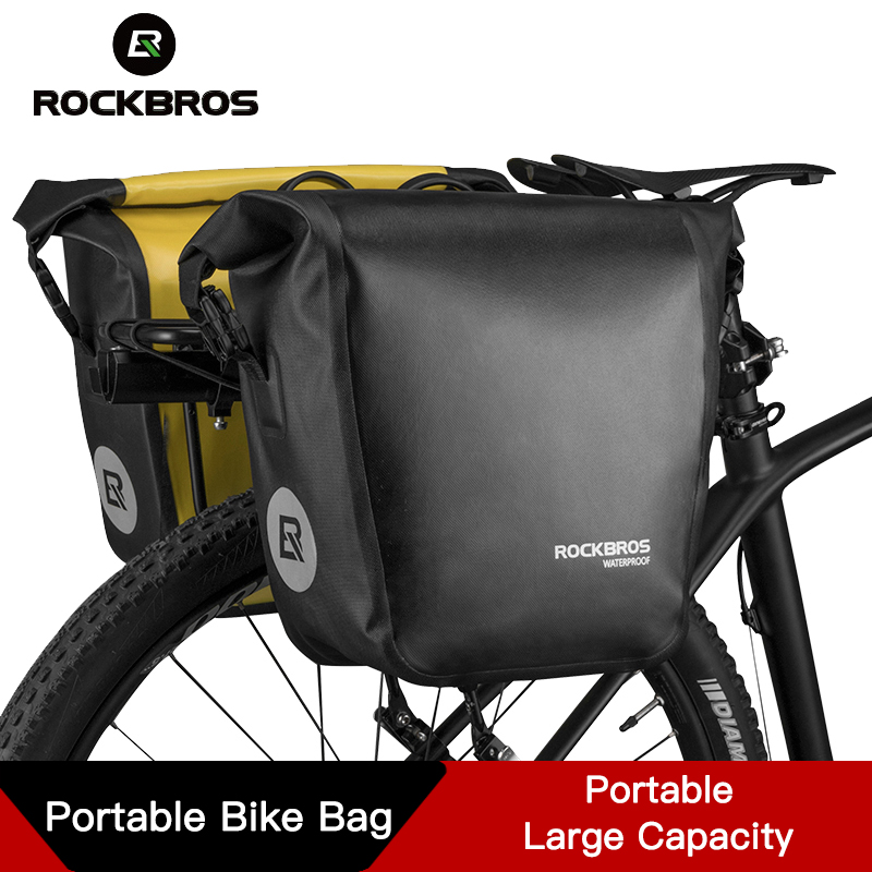 ROCKBROS Portable Bike Bag 10 18L Waterproof Bicycle Bag Pannier Rear Rack Tail Seat Trunk Pack