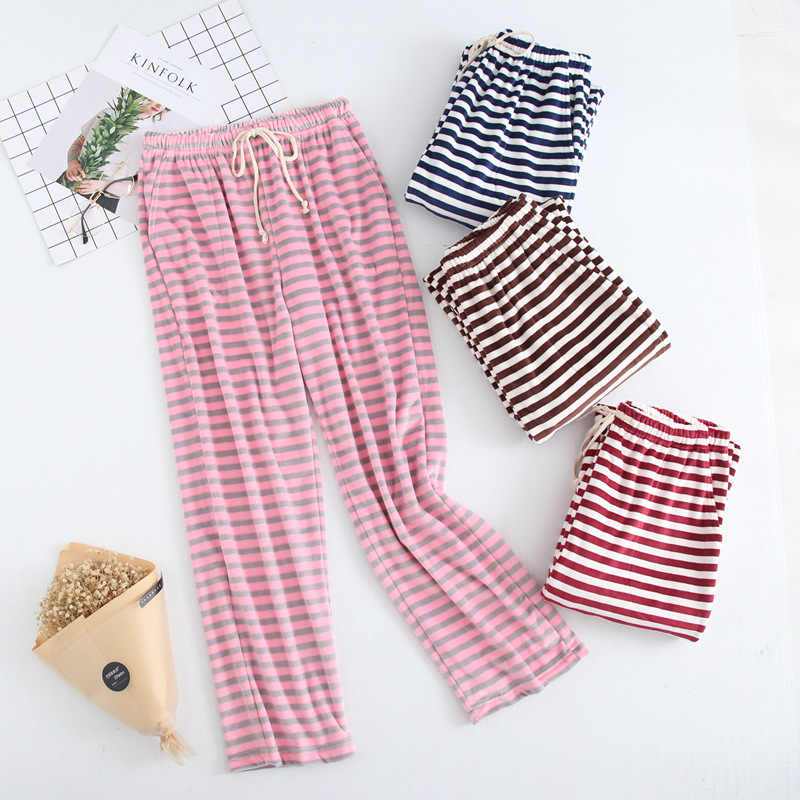 93075cff0 Autumn winter New Women s Striped Baggy Pyjamas Sleeping Pants Woman Plus  Size Pink Pajama Bottoms Lounge Wear