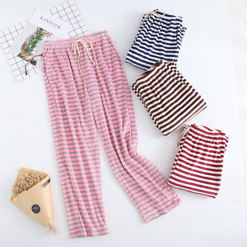 Autumn&Winter Women\'S Striped Baggy Pyjamas Sleeping Pants Woman Plus Size Pink Pajama Bottoms Lounge Wear Thick Warm Pants
