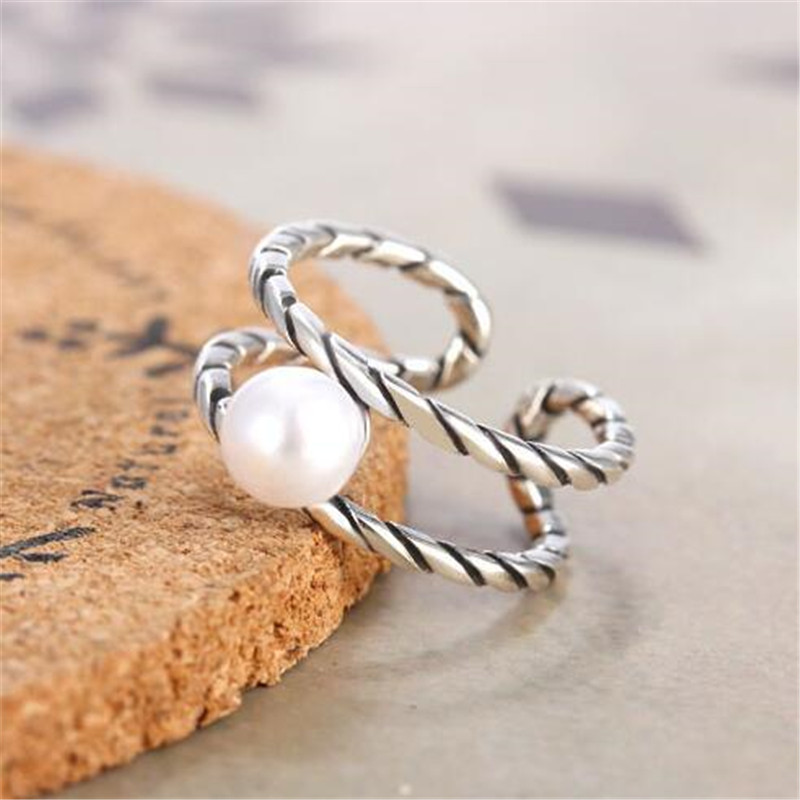 Vintage Simple 925 Sterling Silver Ring Fashion Twist Pearl Open Rings For Women Silver 925 Jewelry Gift Anillos Mujer R349
