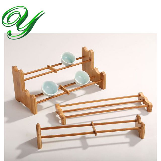 Completely new Chinese kung fu tea cups set serving tray holder bamboo wood  KF42