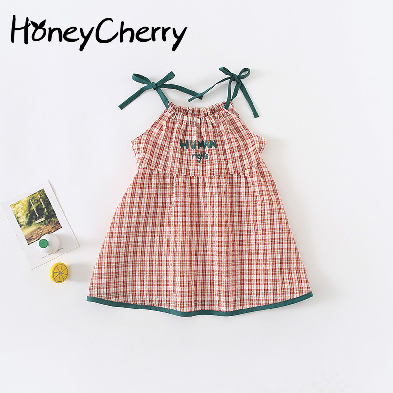 Summer   Flower     Girl     Dresses   2019 New   Girl's   Style Chequered   Dress     Girls     Dresses   For Party And Wedding Baby   Girl   Clothes