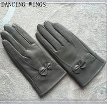 Zimowe damskie rękawice z owczej skóry Guante modna kokardka utrzymuj ciepło oryginalne prawdziwe skórzane mitenki Luva Feminina tanie tanio Rękawiczki WOMEN DANCING WINGS Moda CJ-24 Prawdziwej skóry Nadgarstek Stałe Dla dorosłych