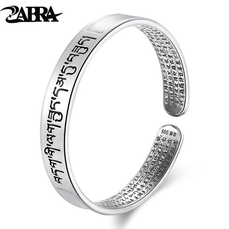 ZABRA Religion Solid Sterling Silver Bangle Women Buddhism Open Cuff Bracelets For Men Vintage Retro Silver Jewelry For Male lt 925 sterling silver open cuff bangle for women men virgin mary white zircon high polished bracelets vintage jewelry for male