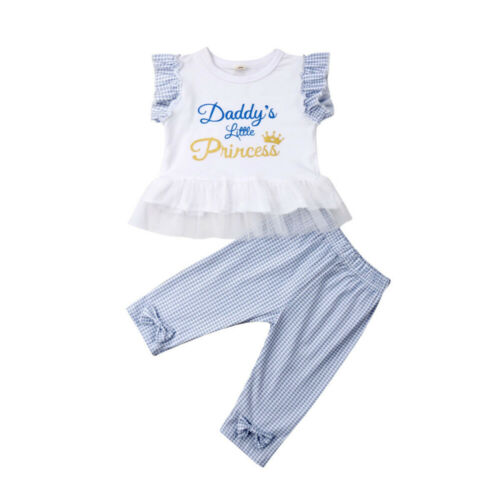 a937b9319 2-6Years Daddy`s Little Princess Kids Baby Girl Summer Lace Tops Pants  Outfits Sunsuit