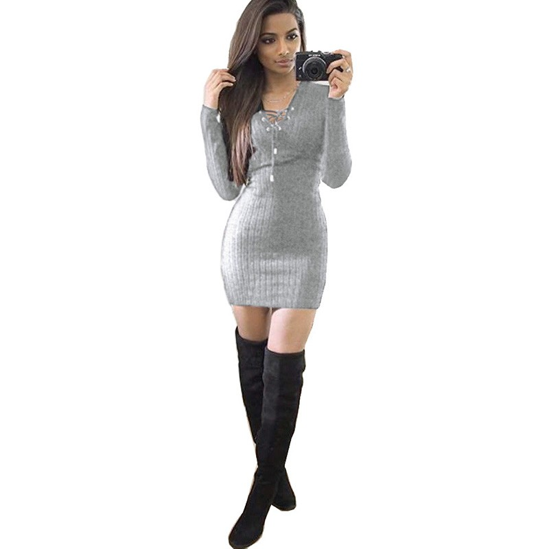 Spring Women Long Sleeve Sexy Lace Up Knitted Bodycon Jumper Dress