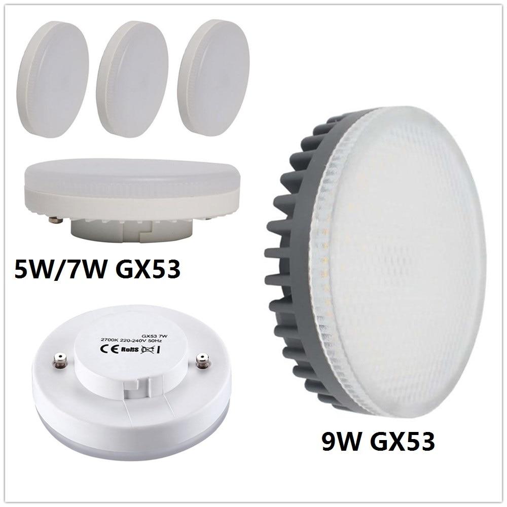 LED GX53 Bulbs 5W 7W 9W Downlight Super Bright Led Lamp Smd2835 Gx 53 Light AC 220V 230V 240V Warm White Cold White Light