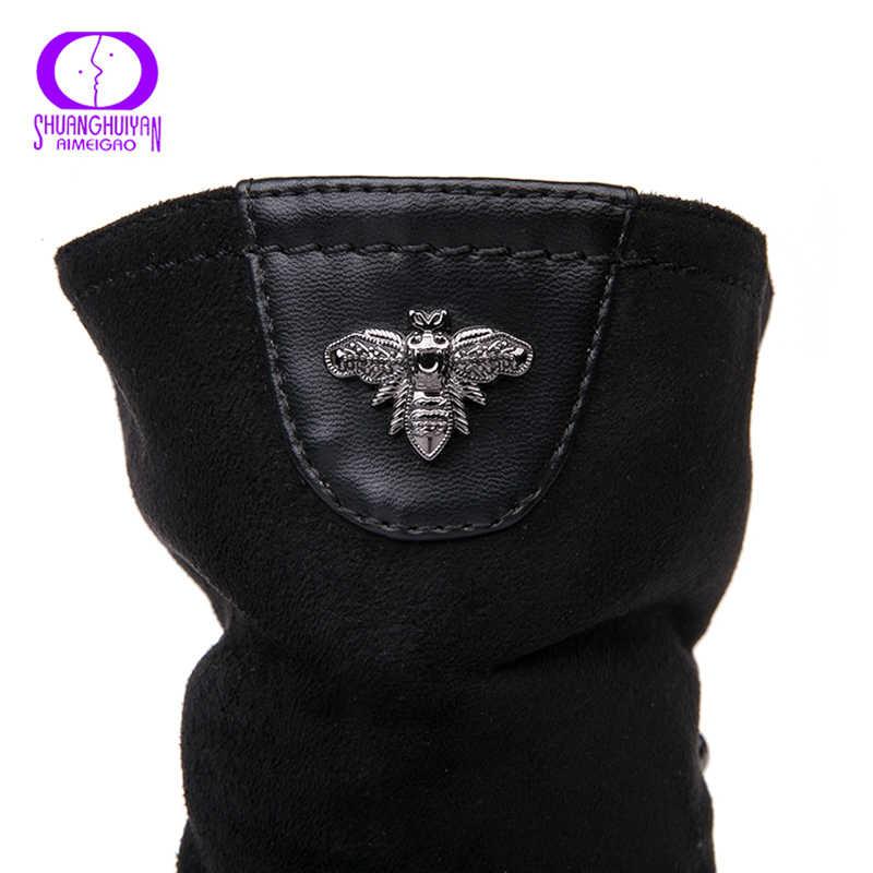 AIMEIGAO Sonbahar Kış Süet Deri Çizmeler Kadın Çift Fermuarlı Siyah Ayak Bileği Botas Kadın Kısa peluş Tıknaz Topuklu platform ayakkabılar