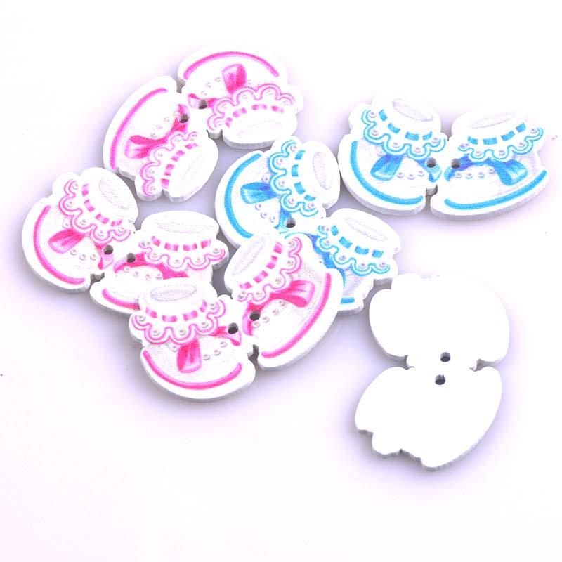 Mezclado azul/Rosa Zapatos de bebé madera pintada Botones para ...