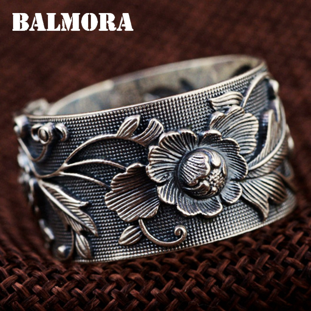 BALMORA Vintage Flower 990 Pure Silver Open Rings For Women Lover Party Gift Flower Ring Thai