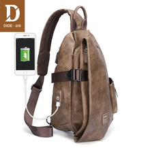 DIDE Large Capacity Anti-thief USB charging Shoulder Bags Mens Vintage Handsome crossbody bag Male Casual iPad Bag High Quality