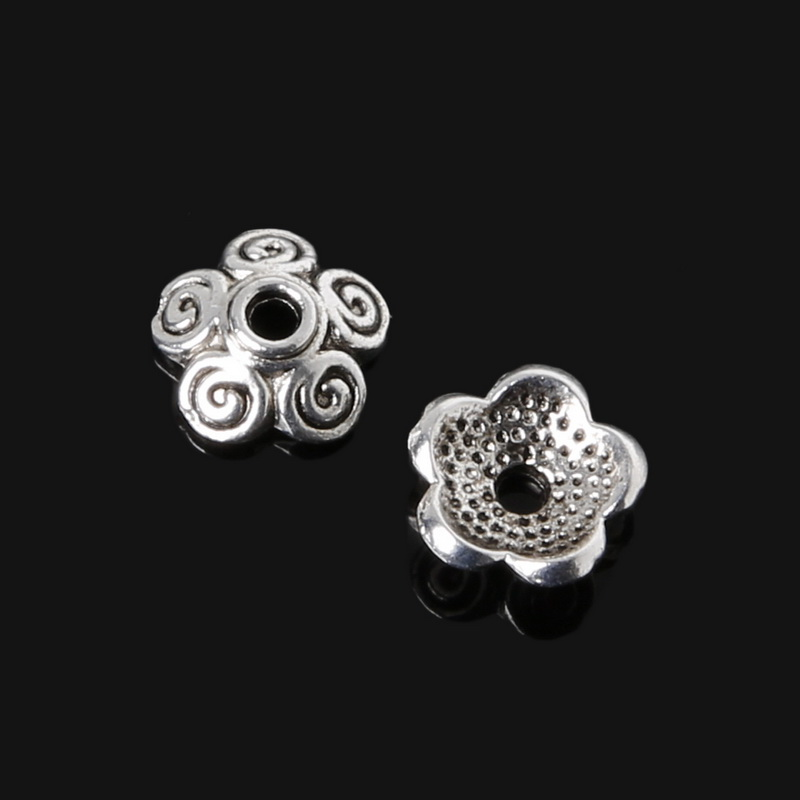 Beads & Jewelry Making 100% True 8x3mm Silver Plated Flower Zinc Alloy Charm Bead Caps For Jewelry Accessories Diy Craft 36pcs/lot