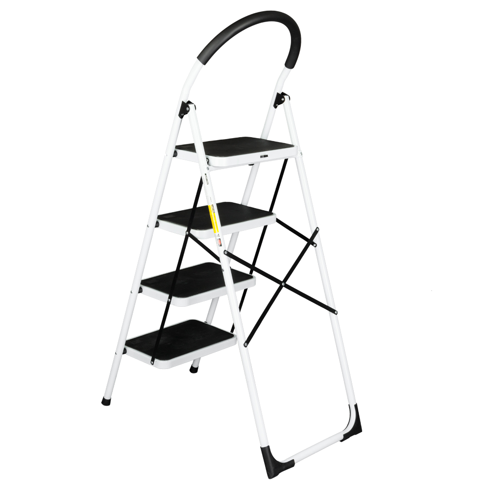 Folding 4 Step Ladder Heavy Duty 330 Lbs Capacity Chairs Industrial Lightweight 4-Step Iron Ladder Black Home Tool