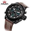Amuda militar relógios pulseira de couro dos homens de luxo da marca analógico digital assista moda led relógio de pulso cronógrafo relógio dos homens do esporte