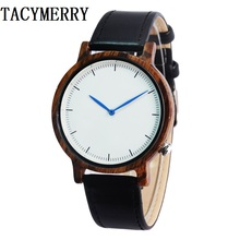 Factory wholesale Brown Wooden Wristwatch For Men's Fashion Gifts With Genuine Cowhide Leather Watch