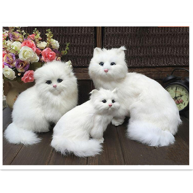 1 Piece Sweet Artificial Fur Made Cats Toywhite Persian Kat Kitten Pussy Cat