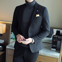 2017 autumn and winter Korean autumn and winter new British wind tip collar high end woolen casual suit suit men's suit jacket