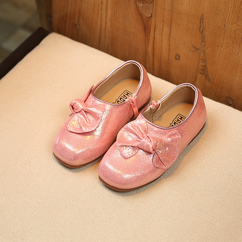 Spring Autumn Children Fashion Glitter Princess Bow Toddler PU Leather Flats Baby Girl Brand Party Shoe Silvery