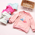 1911631 Retail 2016 New Autumn Baby Girl Top Appliques Rabbits Flowers Catoon Girl Tee Fashion Girl Clothes Lolita