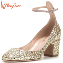 Shofoo Women Bling Shoes-manufactures Fashion Med Heels Glitter Shoes Spring Lila Pumps,zapatillas con taco mujer,Big Size 4-16.