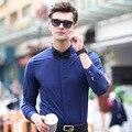 Сплошной Цвет С Длинным Рукавом Формальные Свадебное Бизнес Рубашки для Мужчин Плюс Размер Свободной Случайный Джентльмен Партия Camisa Masculina