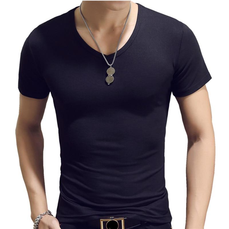 2018 camiseta negra de algodón de manga corta con cuello en V 480 #