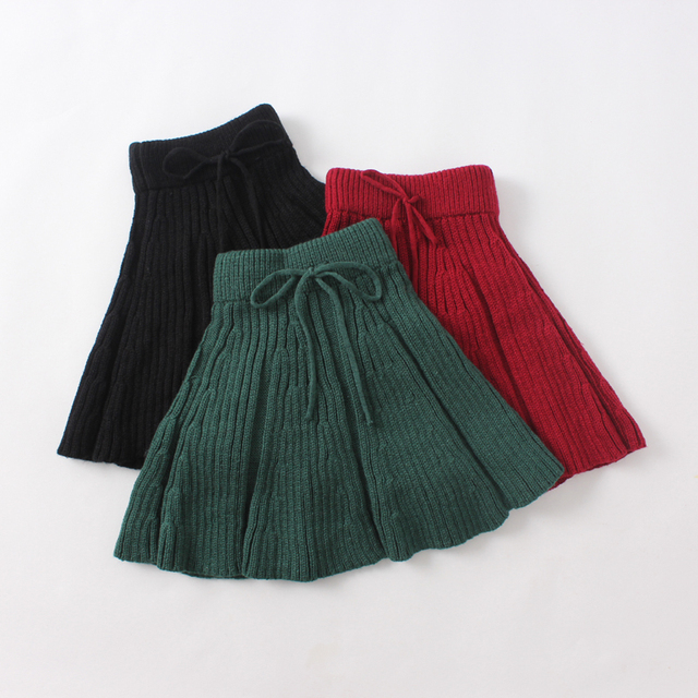 New 2016 Spring Autumn Baby Girls Princess Bow Tied Skirts Solid Wholesale Knitted Ruched Clothes Children Clothing 5pcs/LOT