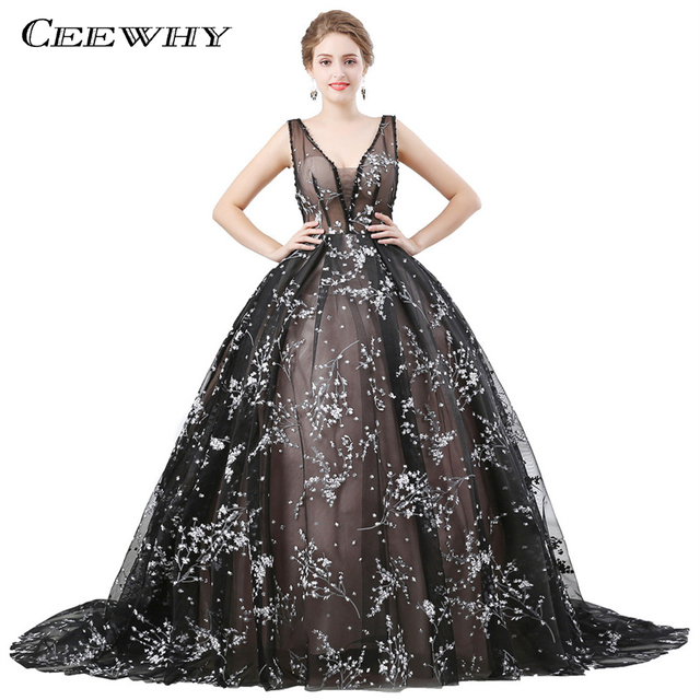 CEEWHY V-neck Ball Gown Long Evening Dress Lace Beaded Vintage Prom Dress  Vestido De Festa Off The Shoulder Formal Evening Gown a1e362507d2f